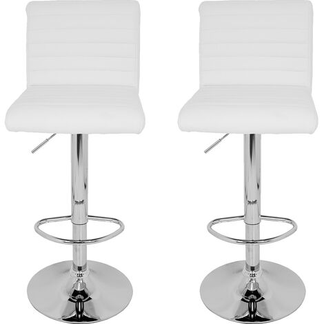 La Silla Española - Pack de dos taburetes con asiento acolchado en simil piel, color blanco y base cromada regulable