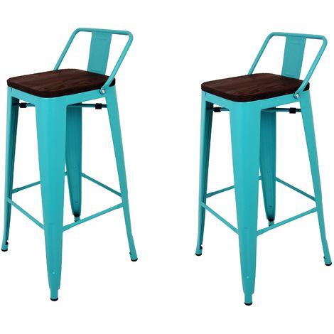 La Silla Española - Pack de dos taburetes cuadrados de metal estilo Tólix con respaldo en color turquesa y asiento en madera de color oscuro