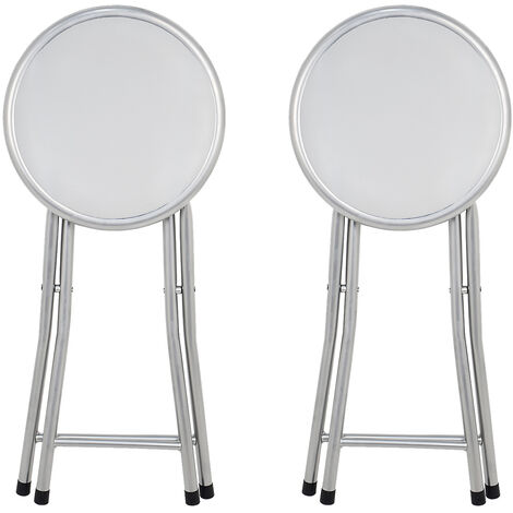 La Silla Española - Pack de dos taburetes plegables acolchados en color blanco modelo Palma