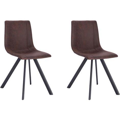 La Silla Española - Silla de comedor estilo industrial con asiento y respaldo en tela modelo Cervera en color Chocolate