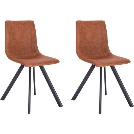La Silla Española - Silla de comedor estilo industrial con asiento y respaldo en tela modelo Cervera en color Visón