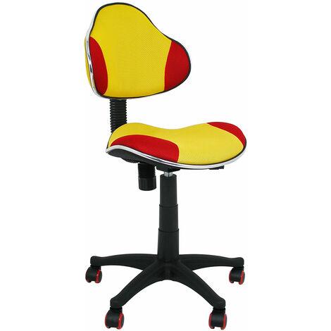La Silla Española - Silla de estudio infantil/juvenil modelo Mundial con estampado amarillo y rojo.