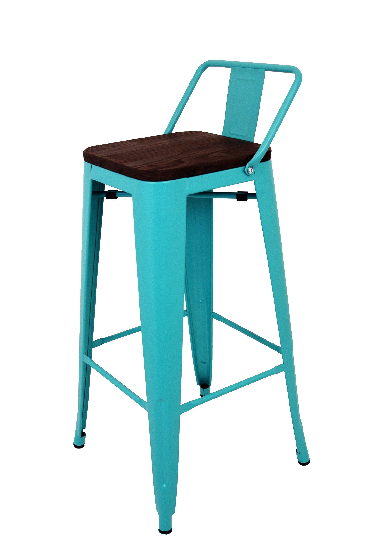 La Silla Española - Taburete cuadrado de metal estilo Tólix con respaldo en color turquesa y asiento en madera de color oscuro