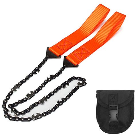 La supervivencia de la mano de la motosierra de bolsillo de la motosierra con cinturon bolsa del bolso del bolsillo de la supervivencia que acampa herramienta principal, Orange
