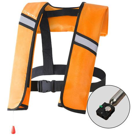 La Vie Gonflable Veste Adulte Gilet De Sauvetage Sports Aquatiques Peche Natation Survie Veste, Orange, Modele Manuel