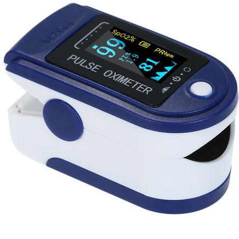 La yema del dedo digital oximetro de pulso, pantalla OLED de oxigeno de la sangre del sensor de saturacion, AZUL