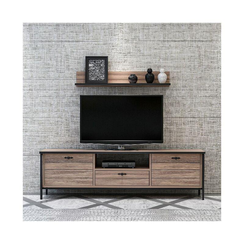 Lace TV-Schrank - Modern - mit Tueren, Einlegeboeden, Schublade, Regal - vom Wohnzimmer - Schwarz, Holz aus Holz, Metall, 150 x 35 x 44 cm - HOMEMANIA