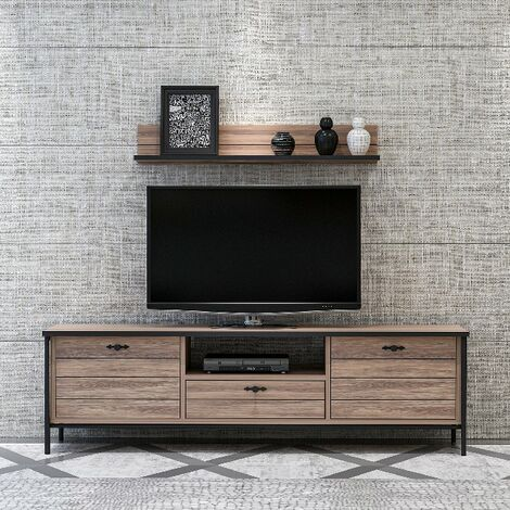 Lace TV Stand - with Doors, Shelves, Drawer - for Living Room - Black, made in Wood, 150 x 35 x 44 cm