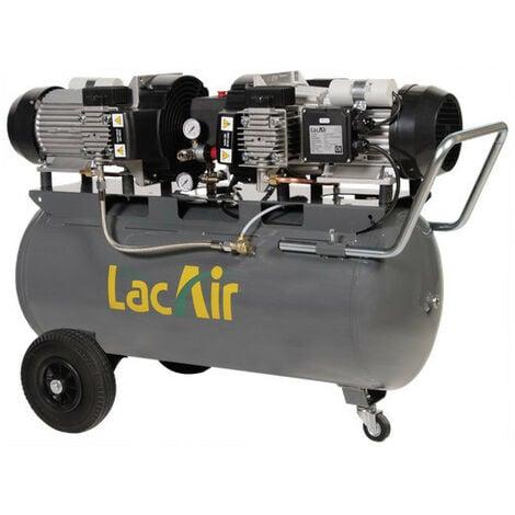 Lacmé - Compresseur double monobloc sans huile 2x2,3CV Monophasé 40m3/h 100L - MaxAir 40/100