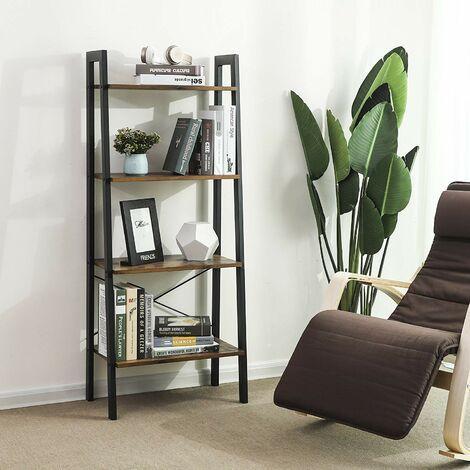 Ladder Shelf 4-Tier Bookcase Storage Unit for Living Room Bedroom Kitchen Vintage Black