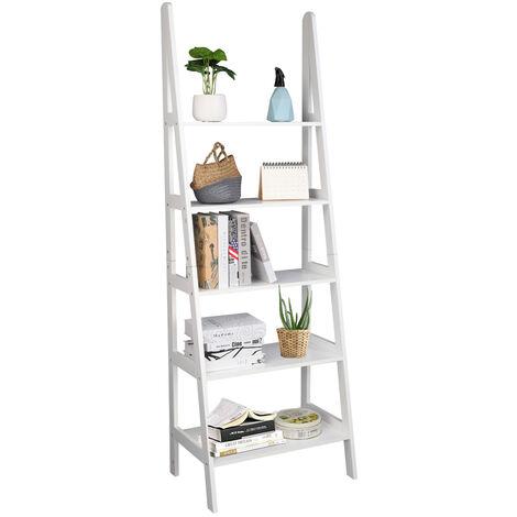 "main image of ""Ladder Shelf, 5-Tier Multifunctional Modern Wood Plant Flower Book Display Shelf, Home Office Storage Rack Leaning Ladder Wall Shelf White"""