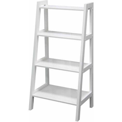 "main image of ""Ladder Shelf Wooden 4 Tier Storage Unit Display Standing Bathroom Shelf | Bookshelf Display Rack Bookcase Storage White"""