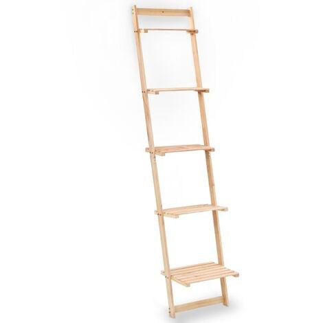 Ladder Wall Shelf Cedar Wood 41.5x30x176 cm - Beige
