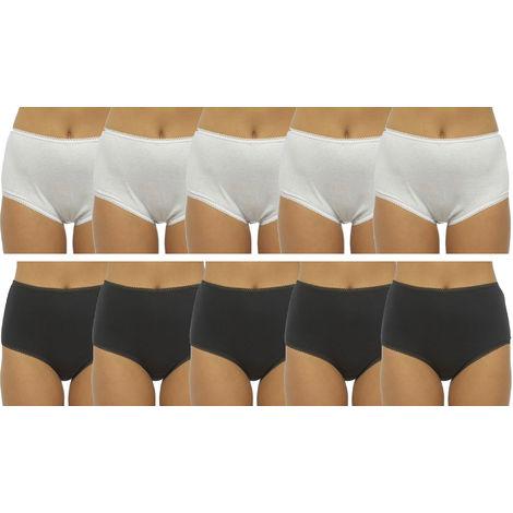 Ladies Anucci Brand Plain Full Maxi Brief knickers Underwear 10 Pack