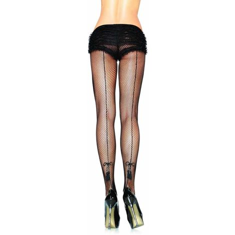 Ladies Backseamed & Tassel Fishnet Pantyhose Tights One Size Black