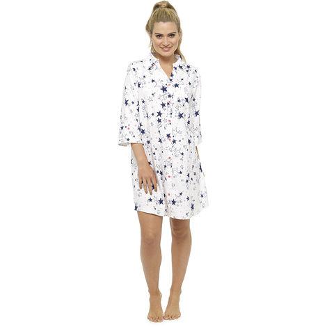 Ladies Foxbury Starry Printed Button-Up Shirt Style Nightdress Nighty Sleepwear