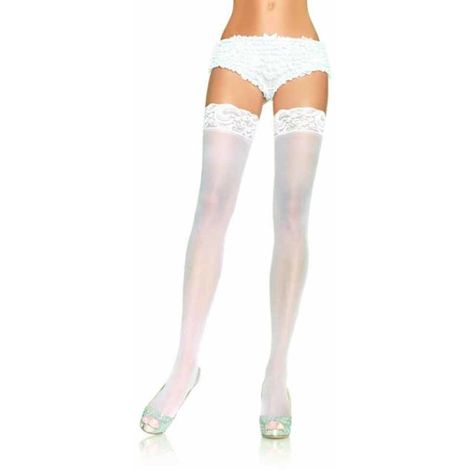 Ladies Hold Up Sheer Lace Top Stockings OS Black