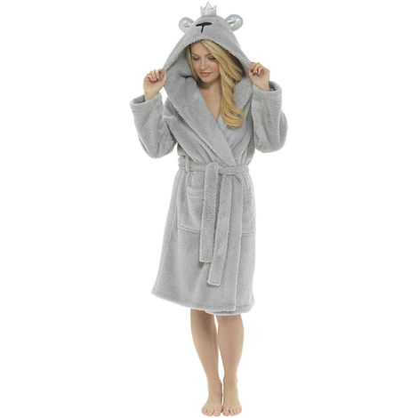 Ladies Hood & Crown Design Fleece Bathrobe Dressing Gown