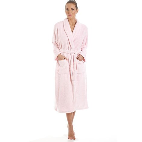 Ladies La Marquise Embossed Coral Fleece Wrap Over Dressing Gown Bathrobe