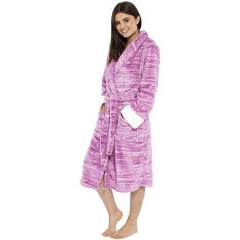 Ladies Marl Effect Design Fleece Bathrobe Dressing Gown