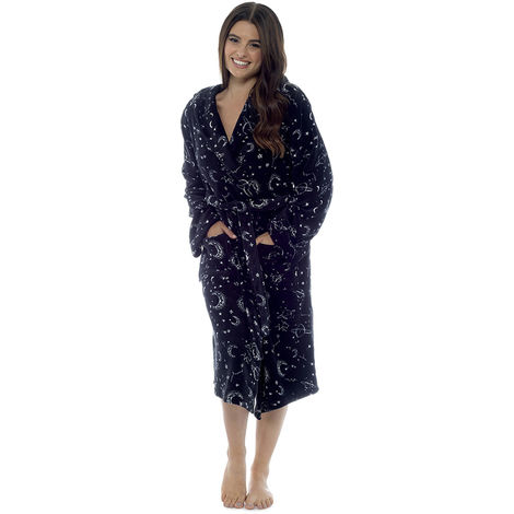 Ladies Star Gazer Design Fleece Bathrobe Dressing Gown