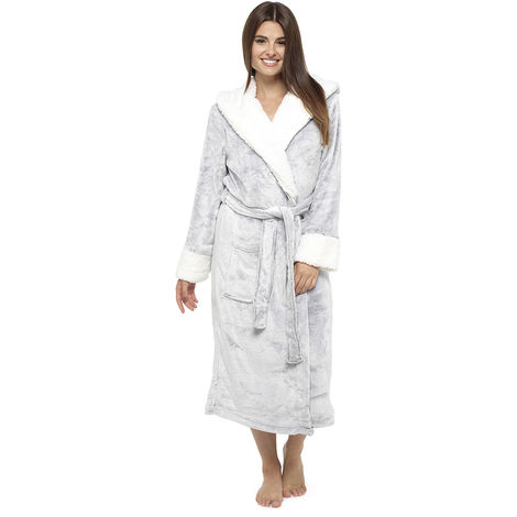 Ladies Supersoft Fleece Robe With Sherpa Trim Dressing Gown