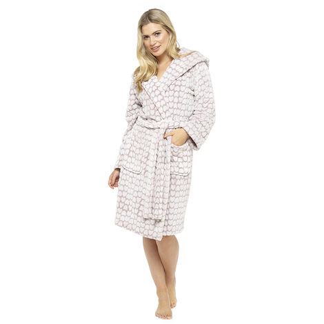 Ladies Supersoft Heart Embossed Fleece Hooded Wrap Over Bathrobe Dressing Gown