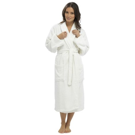 Ladies Supersoft Warm Cotton Wrap Over & Shawl Collar Dressing Gown Bathrobe