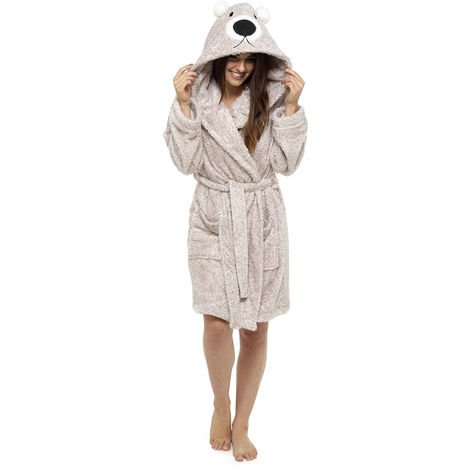 Ladies Supersoft Warm Fleece Animal Hooded Wrap Over Bathrobe Dressing Gown