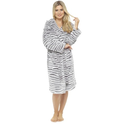 Ladies Supersoft Warm White Tiger Fleece Hooded Wrap Over Bathrobe Dressing Gown