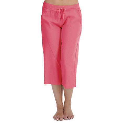 Ladies Tom Franks Solid Colour Linen 3/4 Length Trouser Lounge Wear Pants