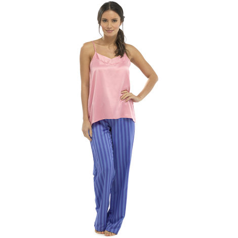Ladies Wolf & Harte Strappy Top And Trouser Summer satin Pyjama pajama Sleepwear