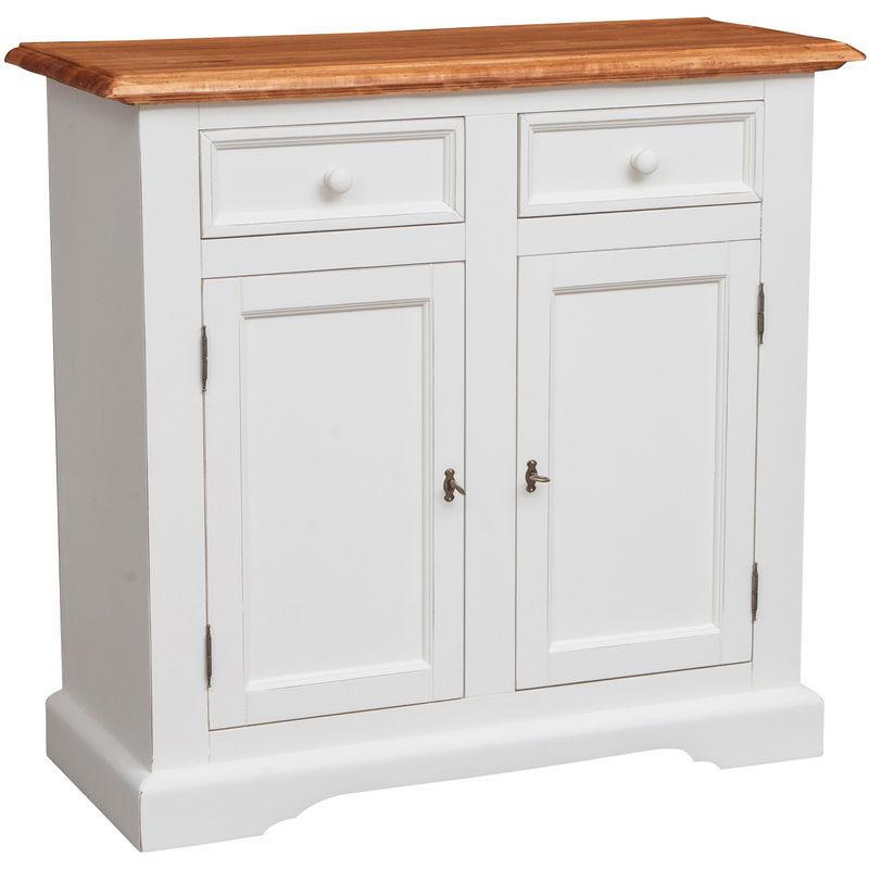 Küchenschrank im Country-Stil aus massivem Lindenholz mit antikierter weißer Struktur und Platte mit natürlichem Finish L110xPR4 - BISCOTTINI