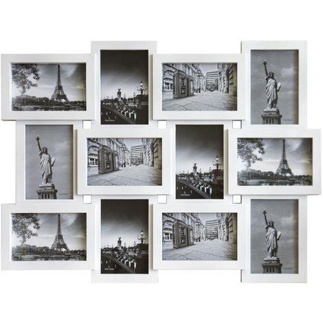 Lagerräumung Fotorahmen Bilderrahmen 12 Bilder 60x45cm Fotocollage Weiß