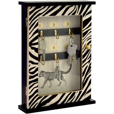 Lagerräumung - Schlüsselkasten mit 6 Haken 30x22x6cm MDF-Holz Zebra-Design Schwarz/Natur Schlüsselbrett