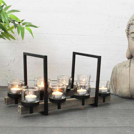 Lagerräumung - Teelichthalter 42x21xH21cm inklusive 8 Teelichtgläser Metall/Holz Kerzenhalter Kerzenständer