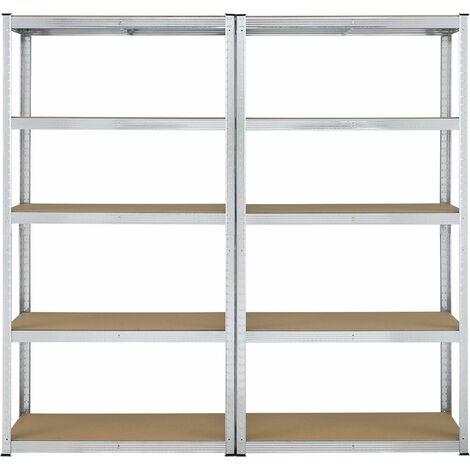 Lagerregal Eco 2er Set - Schwerlastregal 180x90x30 cm | 10 Böden mit je 175 kg | Regale aus Metall | Stecksystem | Kellerregal Metallregal | Juskys