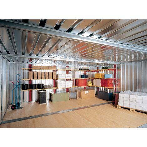 Lagerregal H2000xB1000xT500mm verz.m.2 Holzböden f.Materialcontainer