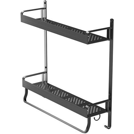 Lagerregal Küchenwandregal 2 Tier Rack Lagerschrank Platz Aluminium Material Schwarz Kein Stanzen erforderlich