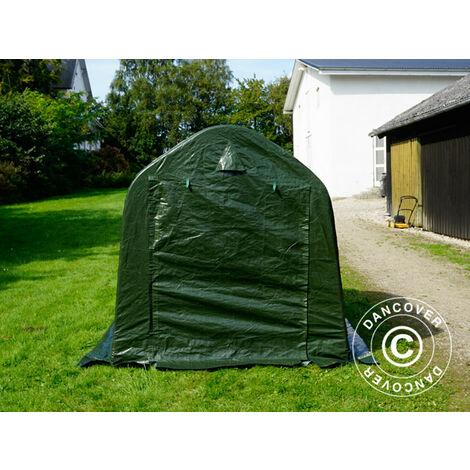 Lagerzelt Zeltgarage PRO Lagehalle 2x2x2m PE, mit Bodenplane Abdeckplane, Grün/Grau