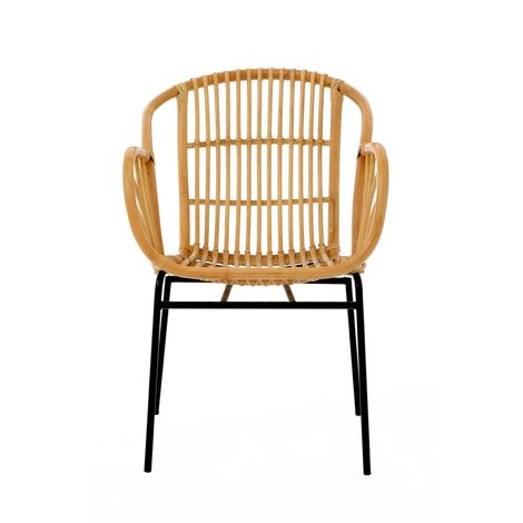 Lagom Chair, Rattan, Black Iron Legs, Accent Eco-friendly Rattan Stylish