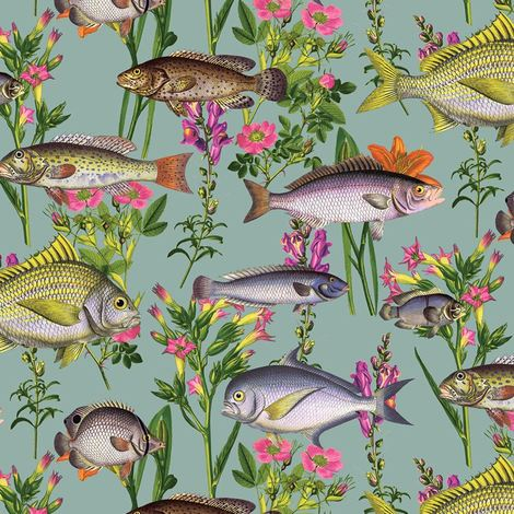 Lagoon Teal Wallpaper By Holden Fish Animals Aqua Sea Life Floral Marine Flowers
