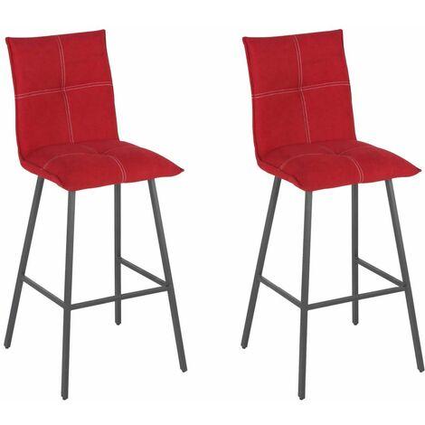 LAGOS - Lot de 2 Tabourets Rouges Assise H65cm - Rouge