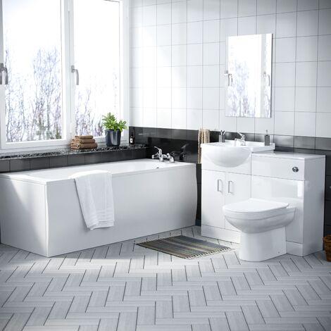 Laguna 3 Piece Bathroom Suite with BTW Toilet, Vanity Unit and Bath