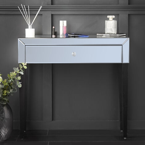 Laguna - Grey Mirrored Dressing Table With Drawer Glass Design Crystal Handle Perfect For Bedroom Makeup Jewellery Storage