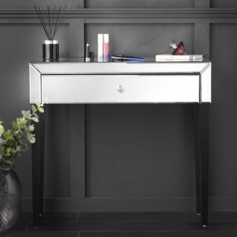 Laguna - Silver Mirrored Dressing Table With Drawer Glass Design Crystal Handle Perfect For Bedroom Makeup Jewellery Storage