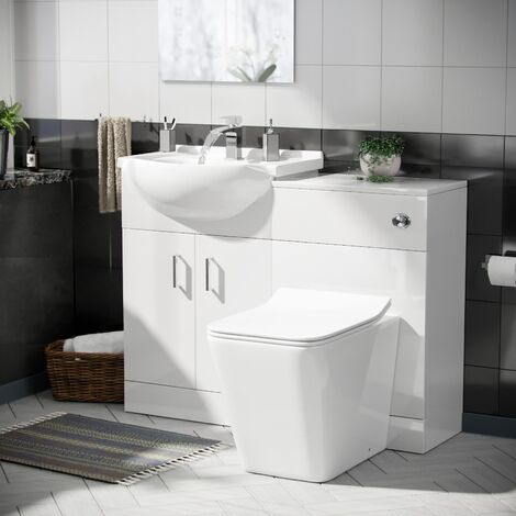 Laguna White Basin 1050 mm Vanity Unit and Back To Wall WC Toilet