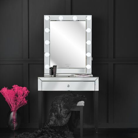 Laguna x Halle Silver Combination Set Including Mirrored Console Table and Desktop Mirror with Hollywood Bulbs, Bluetooth Speaker, USB Charger and Plug
