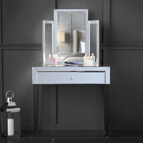 Laguna x Paloma Grey Luxury Set Mirrored Dressing Console Table With Drawer And Tri-fold Desktop Mirror