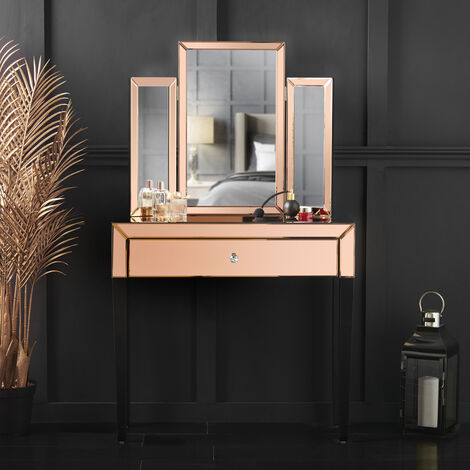 Laguna x Paloma Rosegold Luxury Set Mirrored Dressing Console Table With Drawer And Tri-fold Desktop Mirror